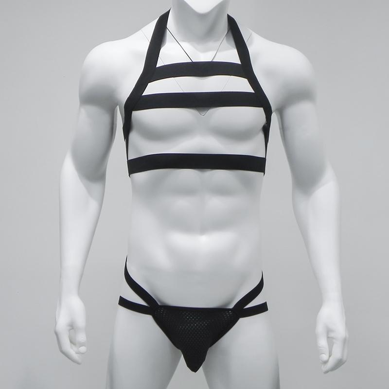 مثير الرجال النايلون عبودية الرجال الملابس الداخلية g سلسلة الرسن الرقبة الجسم الصدر تسخير الرجال مجموعة غاي داخلية ليلة نادي ارتداء SH190724