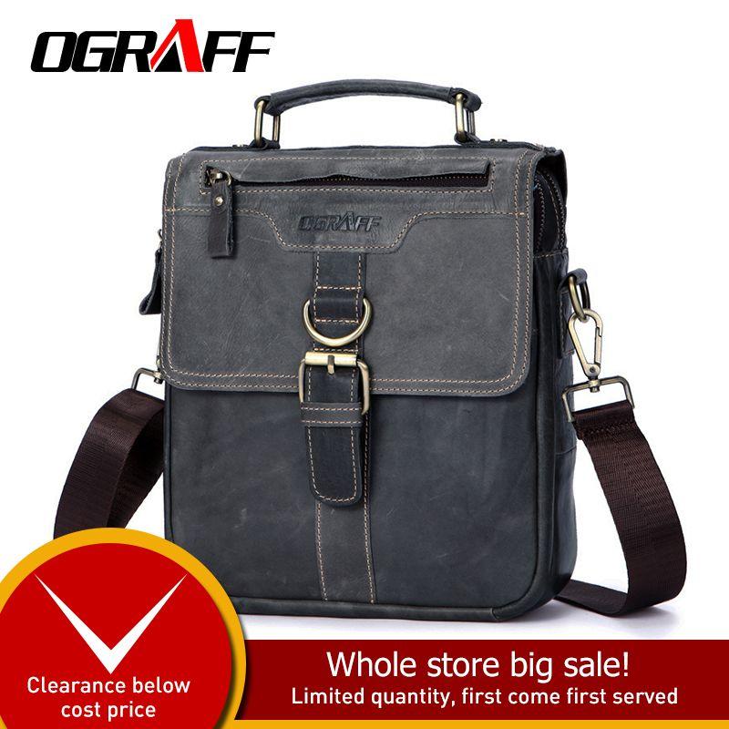 OGRAFF Männer Tasche Mann Handtaschen-echtes Leder-Schulter-Beutel Kleinlederhandtaschen Umhängetasche Messenger Männer Tote Verrücktes