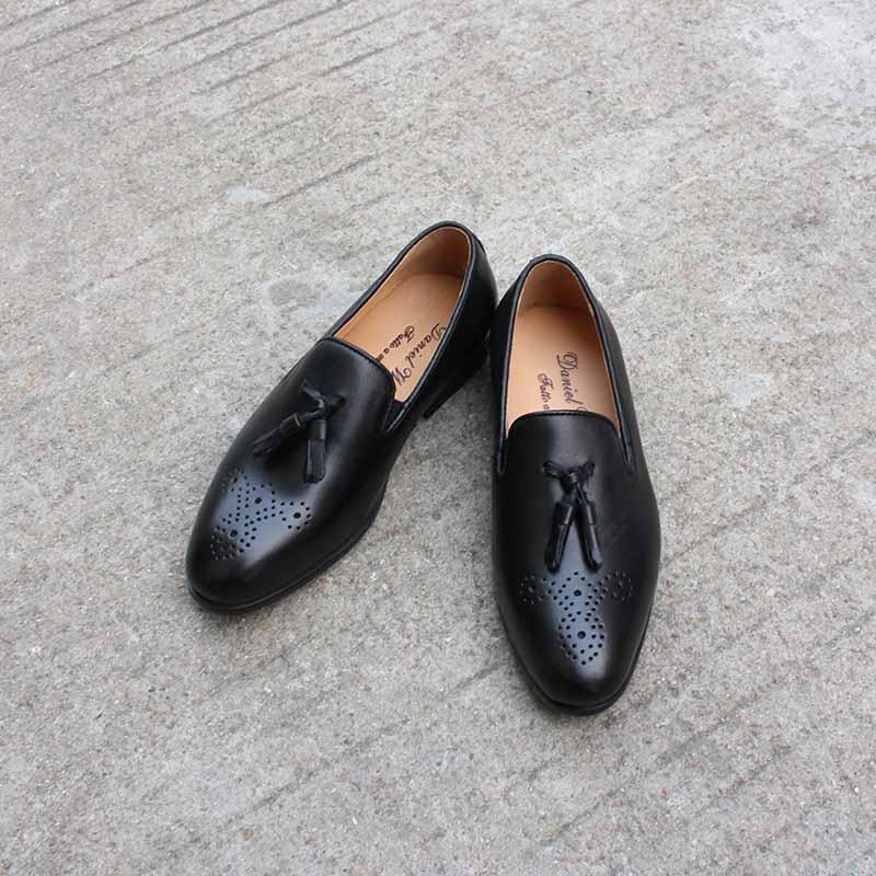 Little Boys Party Chaussures Taille 5 Chaussures en cuir école Enfants Mocassins Glissement Robe de haute qualité pour enfants Chaussures Brown