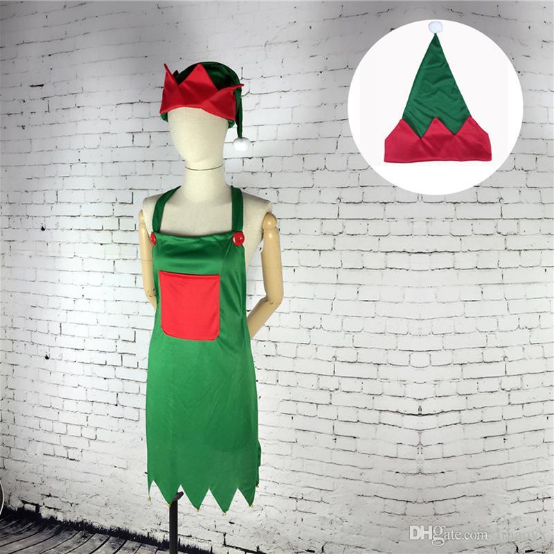 Фартук Hat Set Взрослый Костюм на Рождество партии Необычные платья Наряды Новогоднее украшение DA150