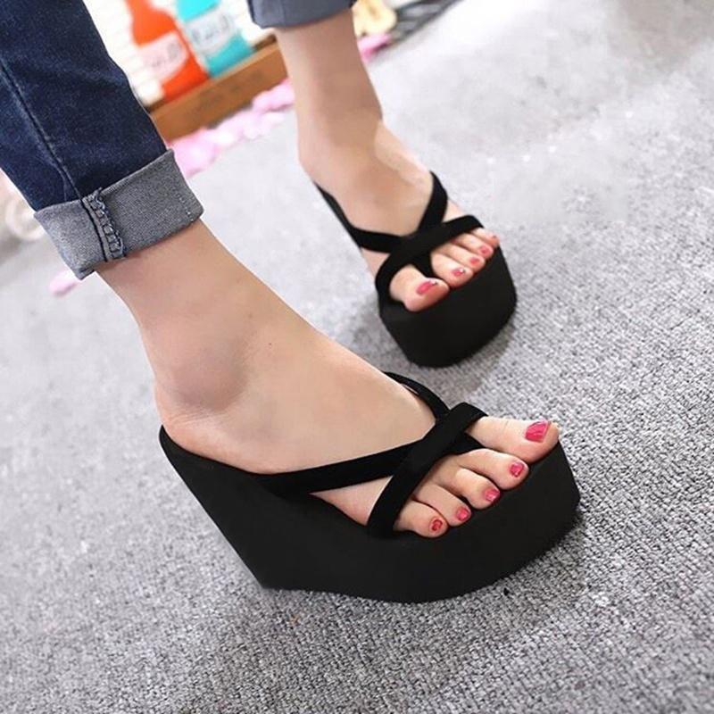 Zapatos casuales de plataforma de verano para mujer Cuñas Chanclas Zapatos de playa de fondo grueso simple Playa de fondo grueso de mujer