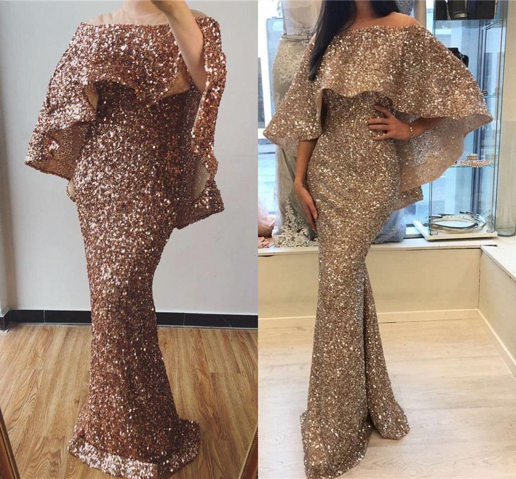2019 로즈 골드 스파클링 된 인어 이브닝 드레스는 Slaker Split Sheath PRM Dresses Long Formal Party Pageant Gown
