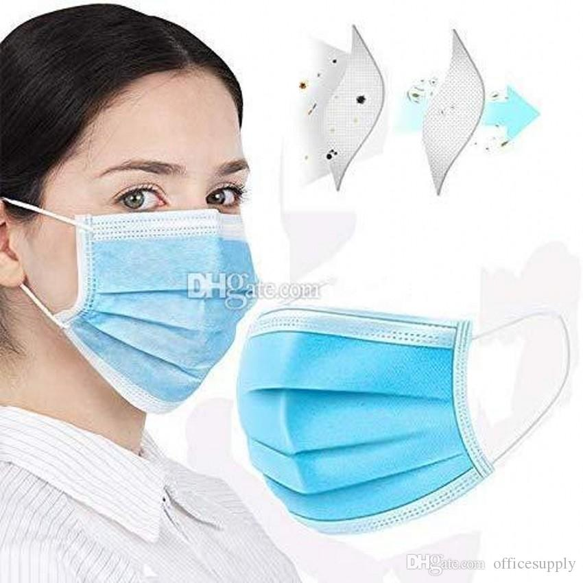 In azione! Maschere monouso viso con orecchio Elastic Loop 3 pieghe traspirante e confortevole per bloccare polvere Inquinamento Protezione DHL libero