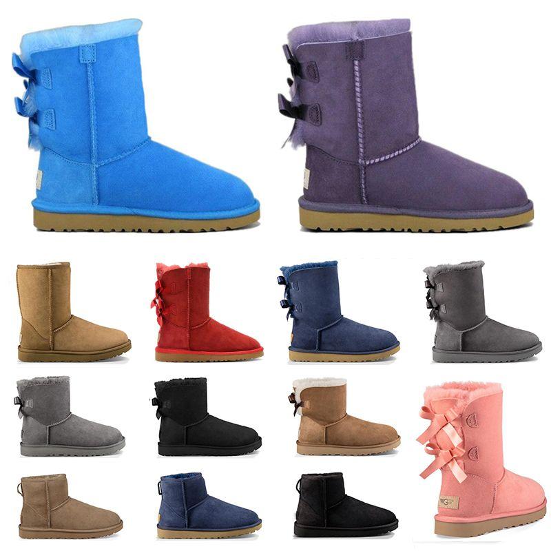 Новые австралия дизайнер женщин меховые ботильоны тройной черный серый темно-розовый каштан моды роскошный классический снег ботинок женщина размер ботинок 5-10