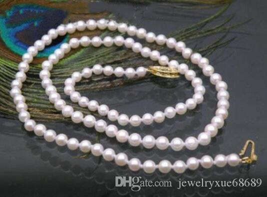 JAPANESE perfect round 4.5-5 mm white akoya pearl necklace 14k/20 solid gold