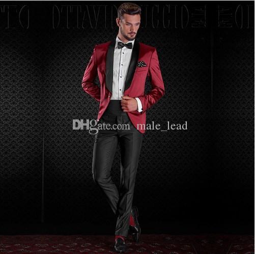 Красивый жених шаль отворот смокинги мужское свадебное платье мужской пиджак пиджак выпускного вечера 2 шт костюм (куртка + брюки + галстук) A206