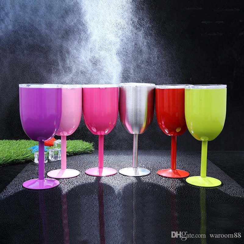 10 أوقية فراغ المقاوم للصدأ كوكتيل زجاج النبيذ الإبداعية كأس الزجاج winecup المعمرة مع غطاء شرب كأس النبيذ الزجاج 300 ملليلتر