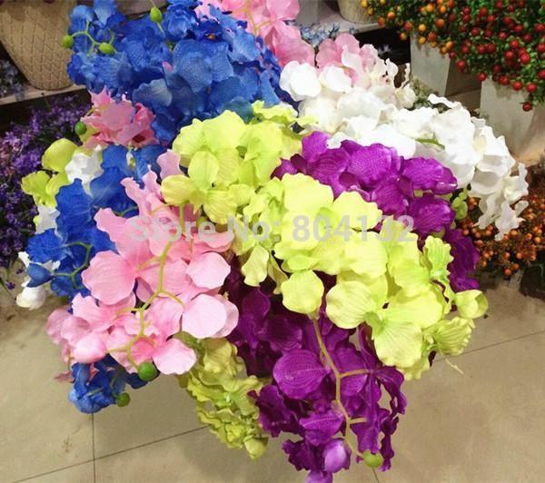 12pcs 95cm soie artificielle Superbe unique Vanda Plastics Orchidées Fleurs en soie Bush papillon Orchidée pour Fleurs de mariage