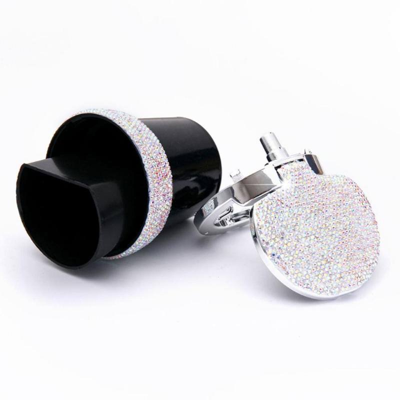 Новый Bling Bling Стразы Портативный автомобиля пепельница с легкими кристалл алмаза водить автомобиль Пепельница Пепельница Кубок хранения