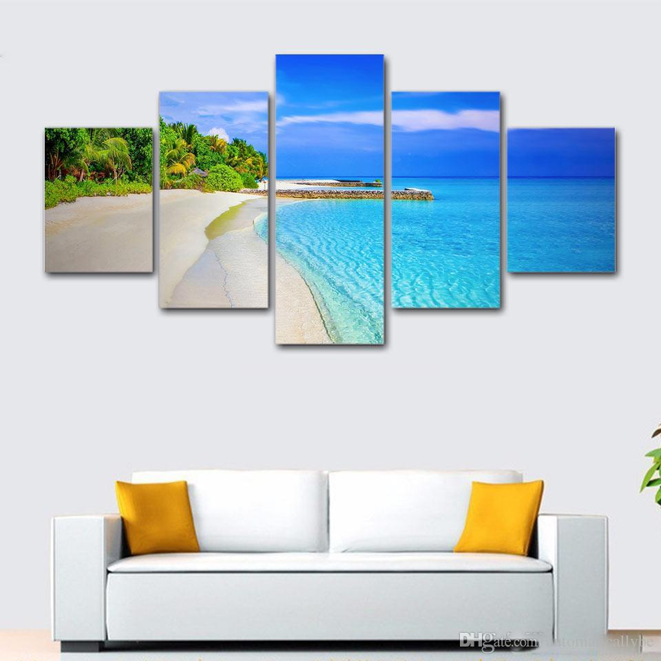 5 Pcs Seascape Long Beach Wave HD Printed Canvas Prints Painting Wall Pictures For Living Room Wall Art No Frame