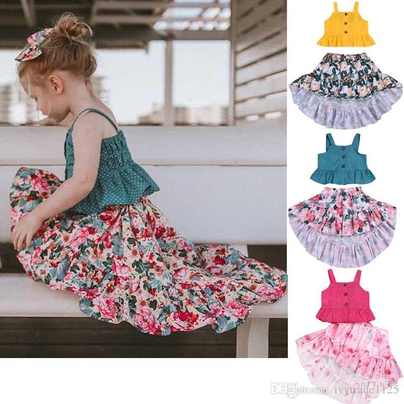 Nuovi girs Abbigliamento per bambini Abito Summer Suspender Polka Dots Camicia con stampa + Gonna a coda di fiori forata Girl kids Set di abiti eleganti