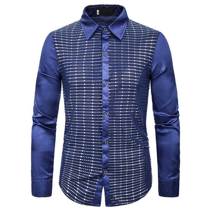 2019 Hommes Décontracté Décontracté Formel Shirt Satin À Manches Longues Slim Fit Affaires Dress Chemises Tops Nouveau Automne Vêtements Chemise Homme