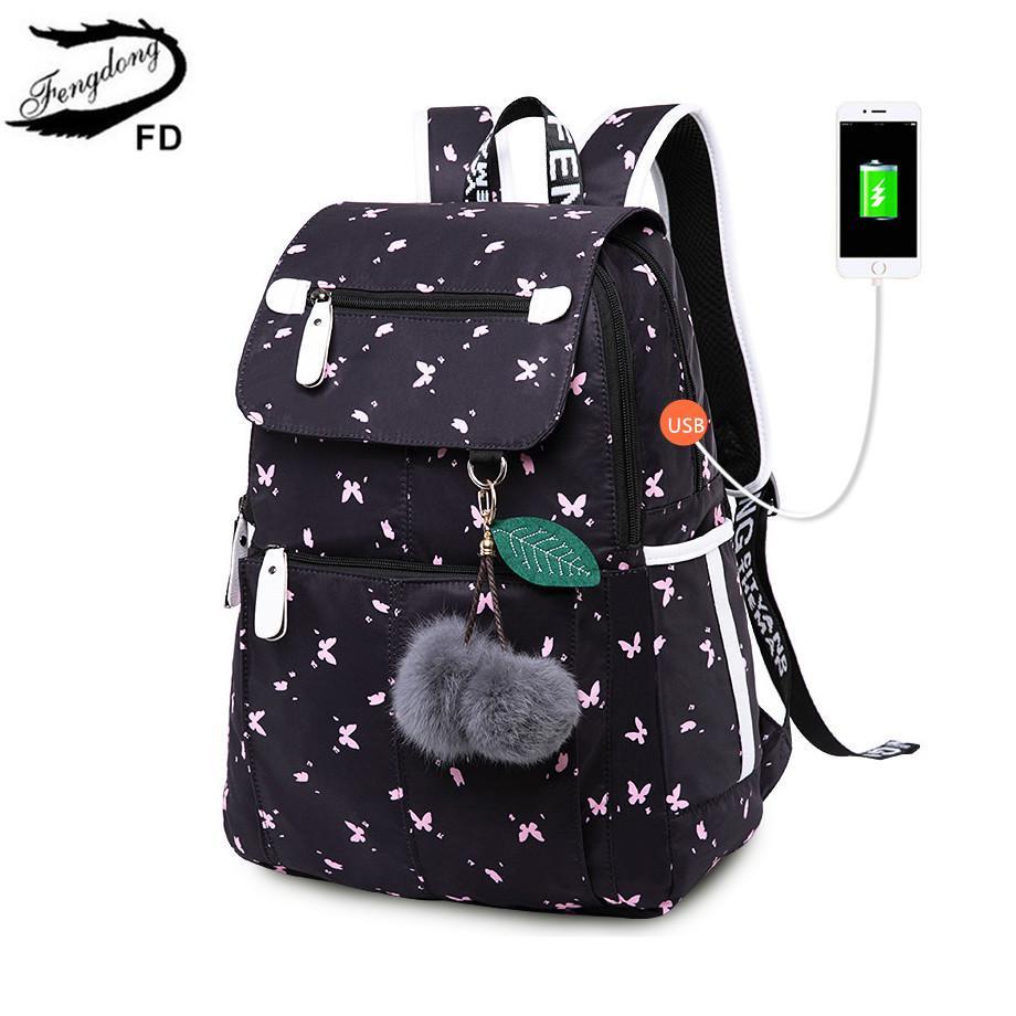 kızlar siyah sırt çantası peluş top kız okul çantası kelebek dekorasyon T200114 için Fengdong kadın moda okul sırt çantası usb okul çantaları