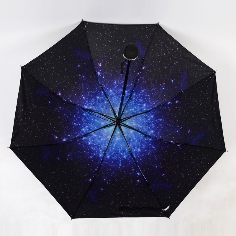 Neue Muster Mode Sternenhimmel Kirschblüten Falten Regenschirm-Regen-Frauen Anti-UV-Regenschirm-Regen-Tools Sun Parasol Windbeständig
