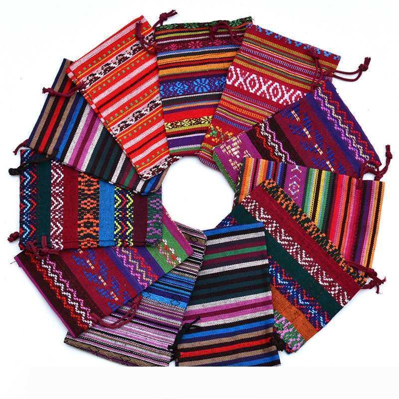 B Tribal Ethnic Style Stripes Cotton Cloth Small Jewelry Bag Storage Bag Drawstring Bundle Mouth Gift Bag