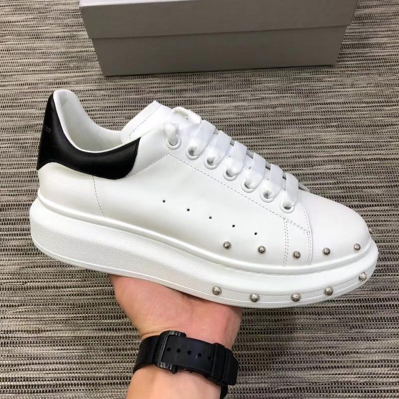 Metal Rivets Women Patchwork Sneakers Double Layer Platform Shoes Thick Heel Genuine Leather Outdoor Lace Up White Tennis Shoes