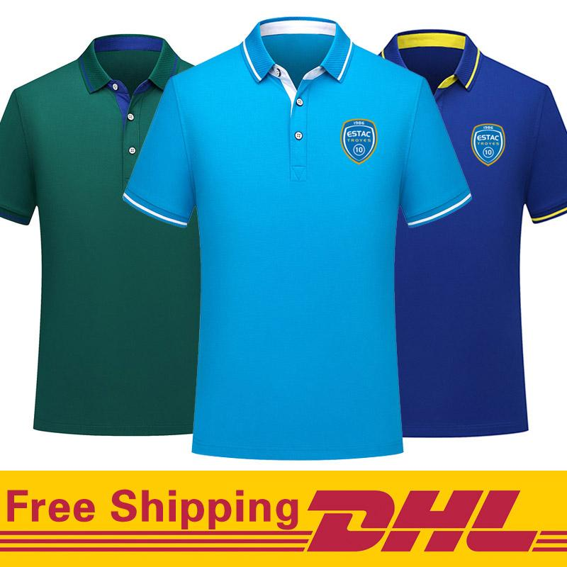 Free DHL Shipping 2020 ES Troyes Soccer Polo Shirt men Short Sleeve polos training Football T-Shirt Jersey can be mixed batch Men's Polos