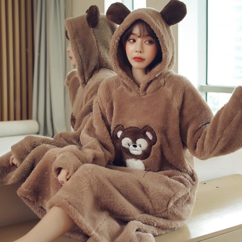 Июльская песня Зимняя Милая пижама теплая утолщенная фланелевая ночная рубашка с длинным рукавом женщина мультфильм животных пижамы зима Homewaer Y200425