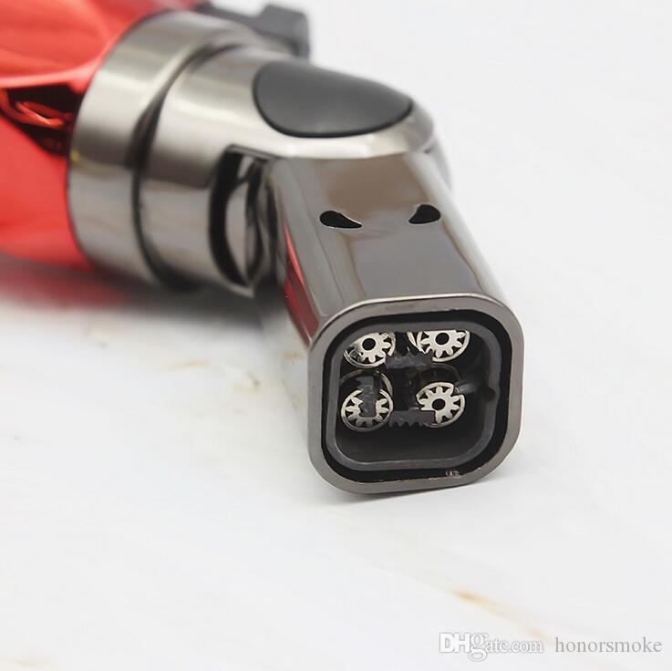 Rotary quatre buse torche chalumeaux pistolet à jet coupe-vent léger flamme de butane rechargeable Micro culinaire briquets cigares allumeur 5 couleurs