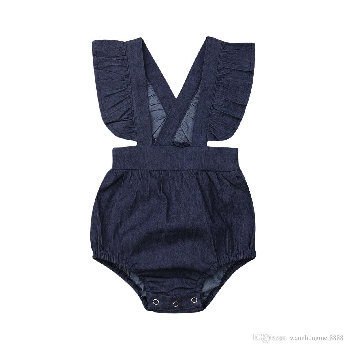 Bebê recém-nascido roupas de menina 2019 novo verão azul denim Bodysuit moda mangas babados macacões de uma peça roupa de verão 0-24M