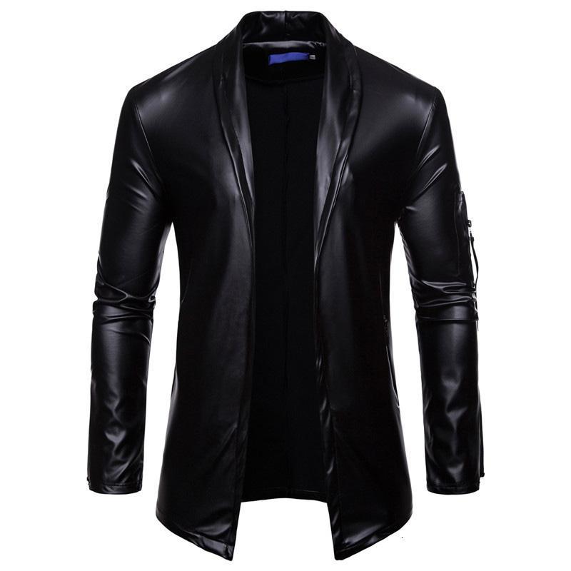 Uplzcoo PU Noir Costume en cuir Blazer Hommes Slim Fit Couleur unie Cardigan Casaco Masculino Brillant Glitter Boîte de nuit DJ Jaqueta EM151 T190917