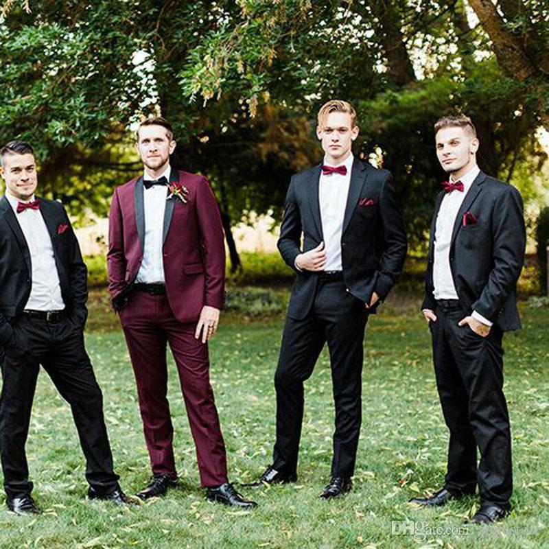 Trajes de Borgoña hombres delgados de vestuario 2Piece casarse de esmoquin Hombre traje chaqueta negro Homme padrinos de boda Traje de noche del partido Trajes de hombre