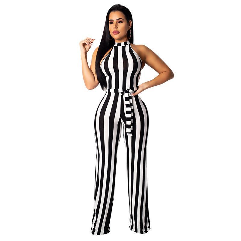 Preto e Branco Listrado Culotte Jumpsuit Mulheres Night Club Party One Piece Sexy Romper Macacão Casuais Ampla Perna Jumsuit Sashes