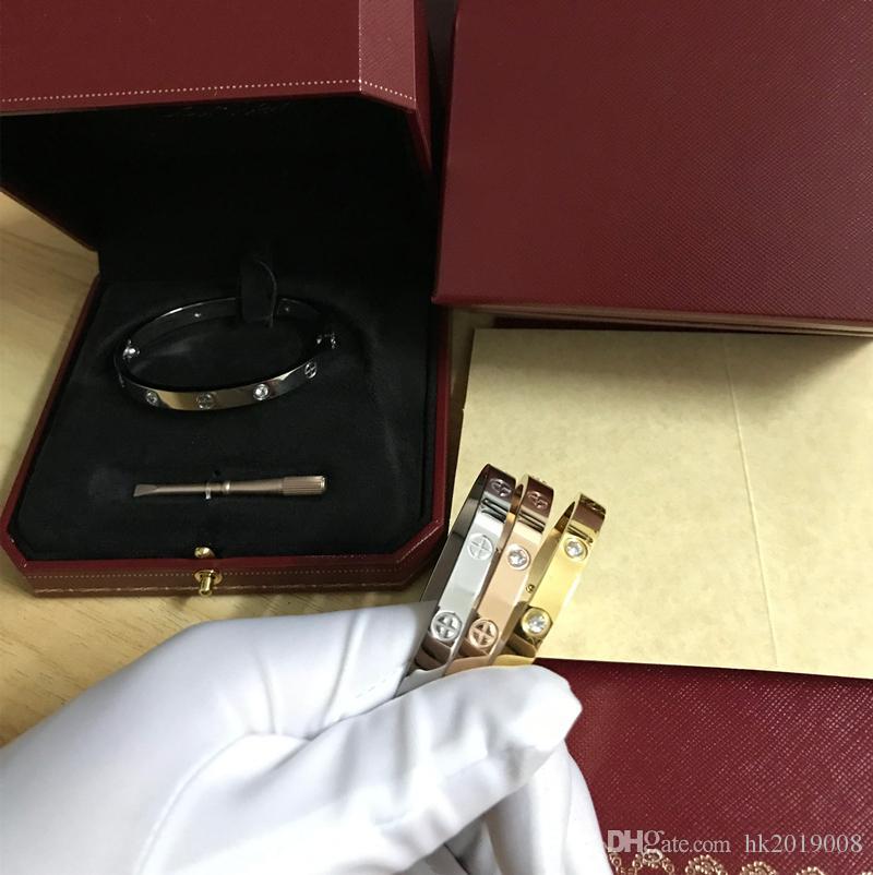 Top Love Bracelets Bracelet argent rose or Bracelets Femmes Hommes Tournevis Tournevis Bracelet Couple Bijoux avec haute qualité boîte d'origine