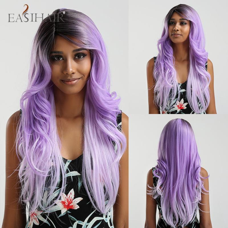 Длинная черный для фиолетового Ombre волос париков жаропрочных синтетических париков боковой части для Afo Женщины бесклеевой Волнистые Cosplay Природных