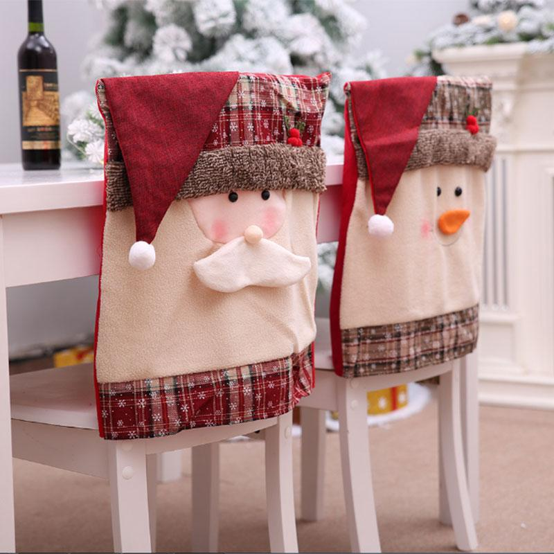 1PCS Christmas Chair Cover Nonwoven Fabric Party Beautiful Christmas Seat Cover Santa Claus Lovely Cap Chair Drop Shipping