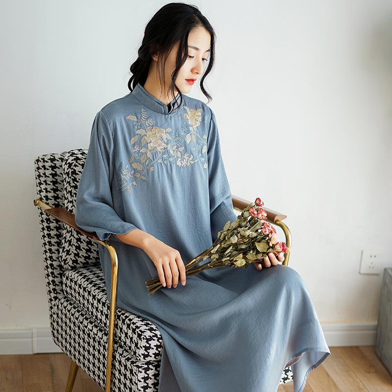 2020 Весна Женское новое шелковое платье женский китайский стиль стенд воротник вышитые элегантные платья женщины