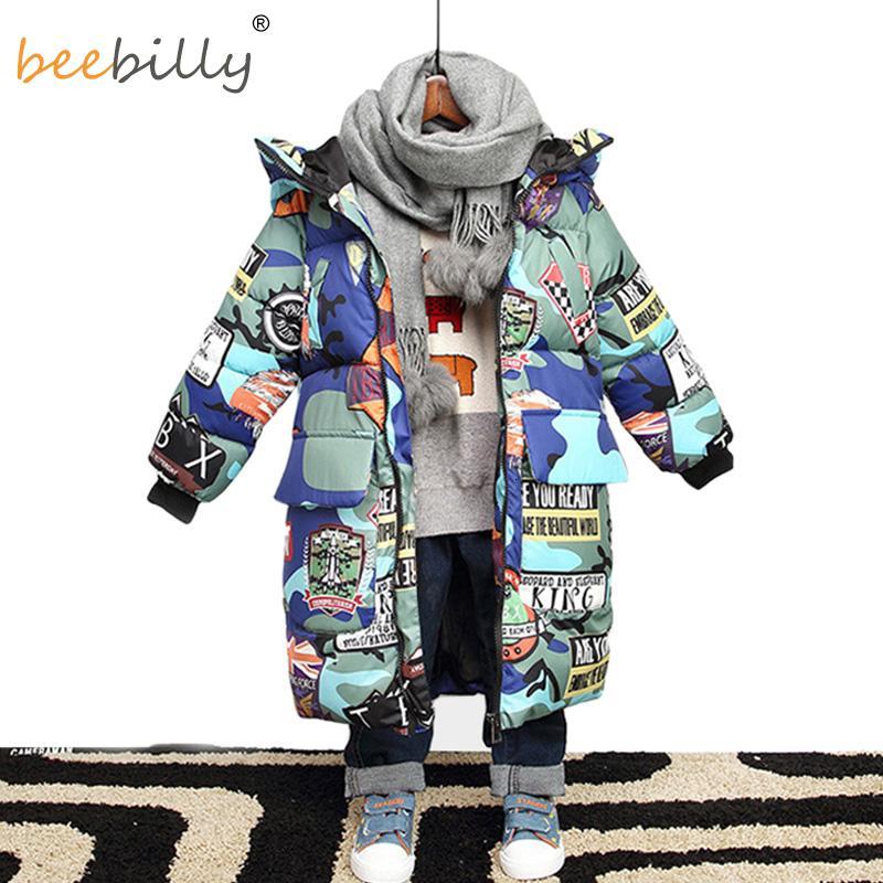 Jacke für Jungen 2019 Neue Marke mit Kapuze Winterjacken Graffiti Tarnung Parkas für Jugendliche Jungen starke lange Mantel-Kind-Kleidung V191118