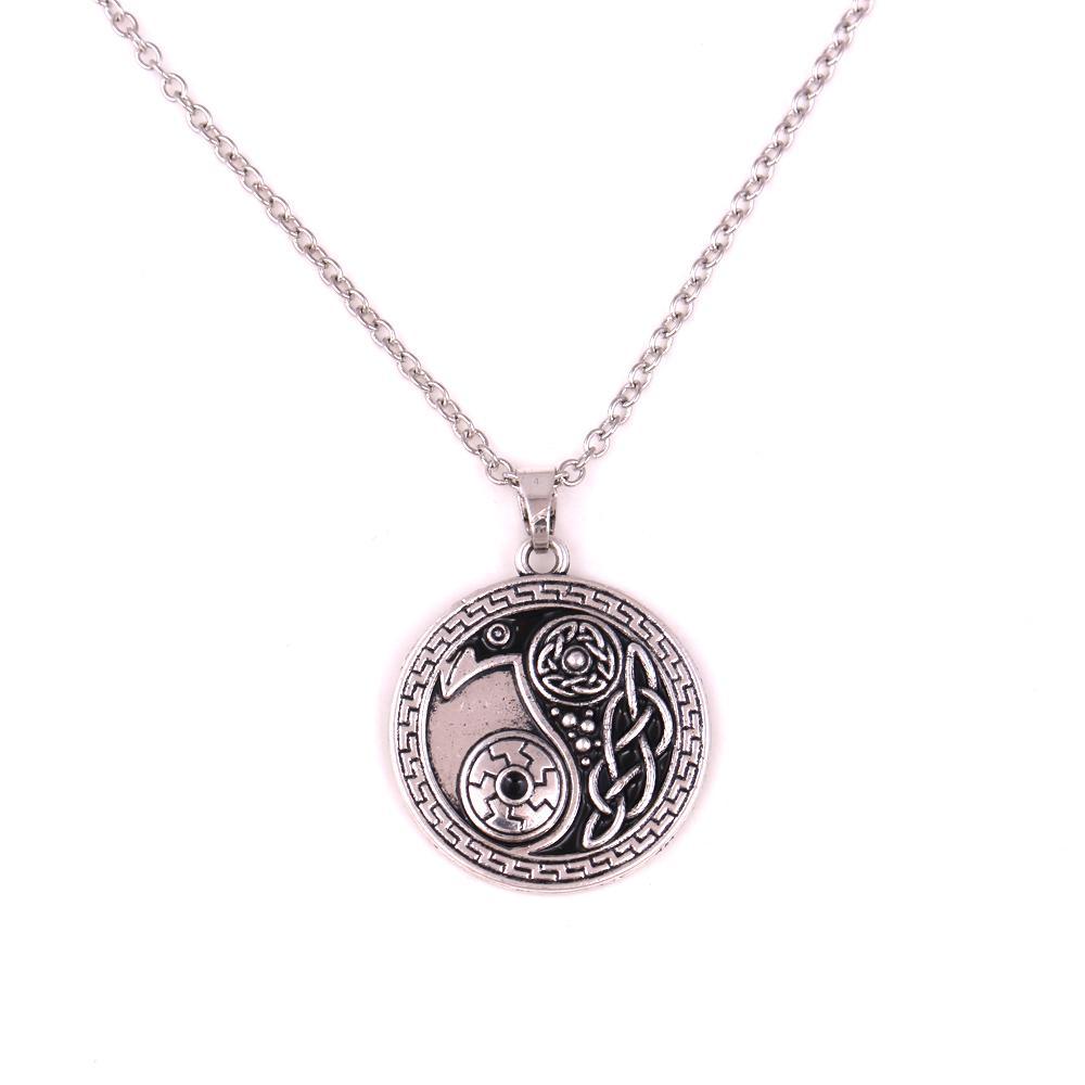 Antique Silver Morrigan Crow Raven Pendant Yin Yang Amulet Religious Necklace