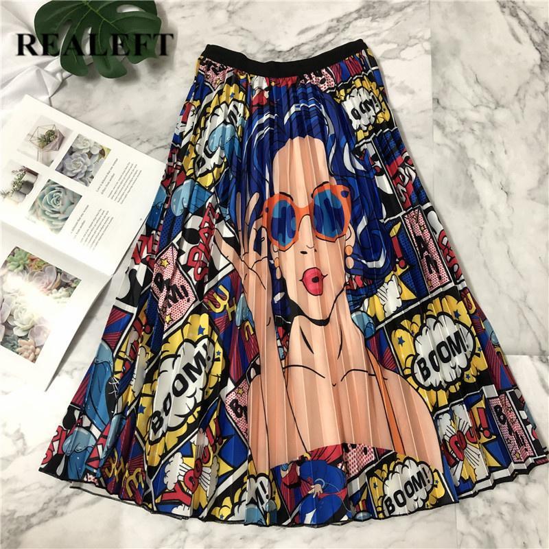 Realeft New Arrival Femmes Cartoon Imprimé élégant Midi Jupes plissées 2019 Printemps haut taille empire Harajuku Tulle A-ligne Jupes Y19060301