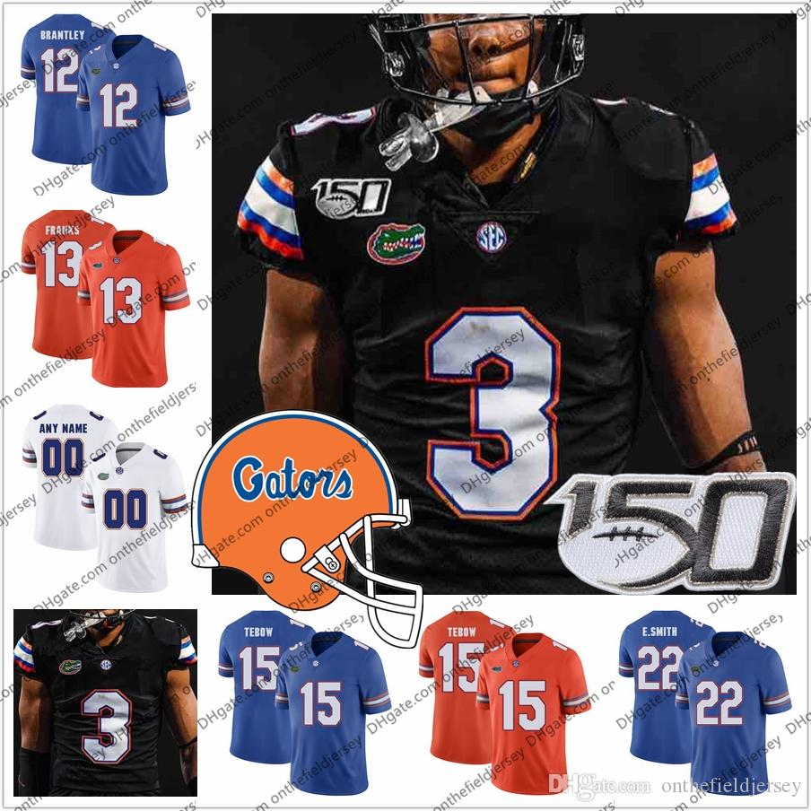Costumbre 2019 Florida Gators Nueva Negro fútbol jerseys # 5 de Emory Jones 15 Tim Tebow Jacob Copeland 22 E.Smith 84 Kyle Pitts S-4XL