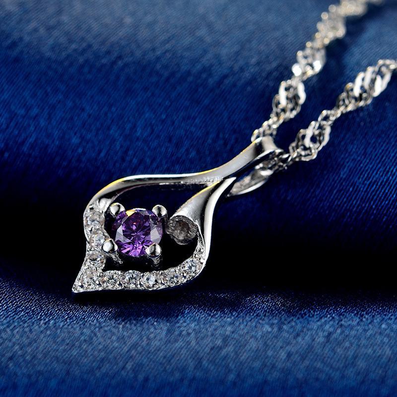 JRSIAL S925 Sterling Silver Diamante Zircon Personalidade Geometric clavícula colar de corrente acessórios de moda feminina pingente