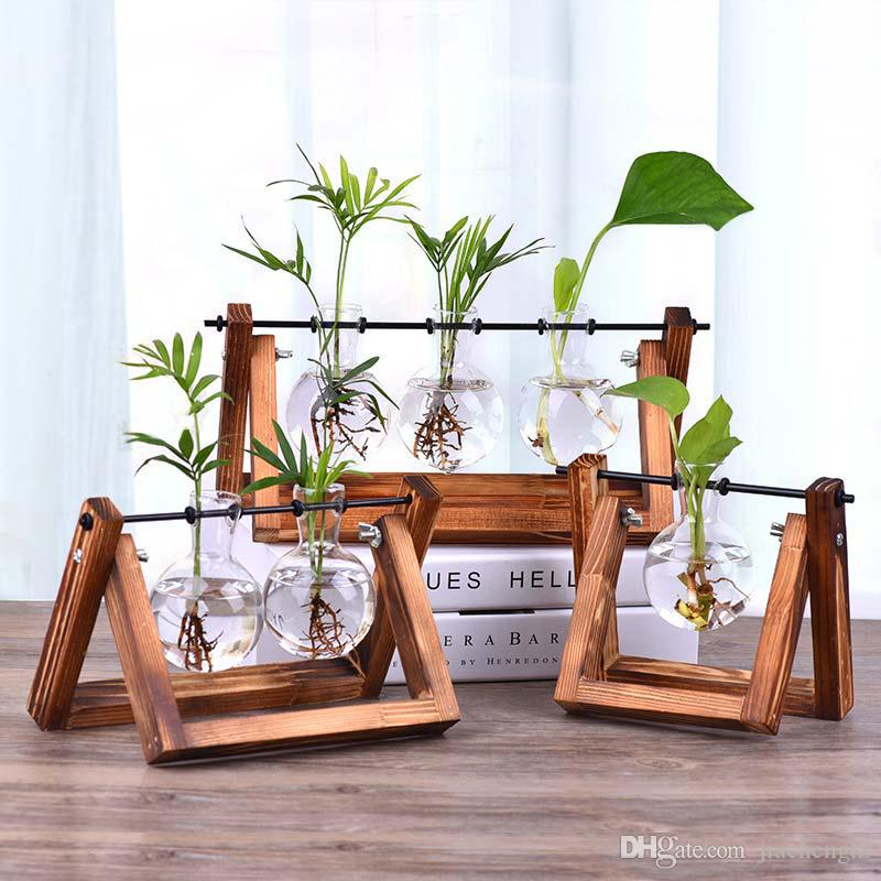 خمر الإبداعية النباتات المائية شفافة إناء خشبي إطار مقهى غرفة الزجاج منضدية النبات بونساي ديكور المنزل زهرة زهرية