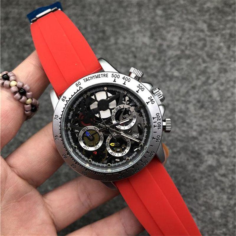 자동 다이얼 모든 다이얼 작업 스톱워치 시계 남성 큰 42mm 패브릭 사파이어 솔리드 걸쇠 대통령 망 완전 기능적 손목 시계