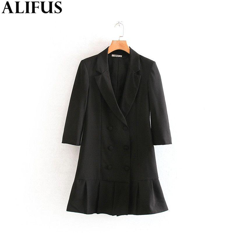 Moda Za donne Vestitino 2019 Vintage pieghe Blazer Stile scollo a V manica lunga doppio petto Abiti Femminile signore Vestidos