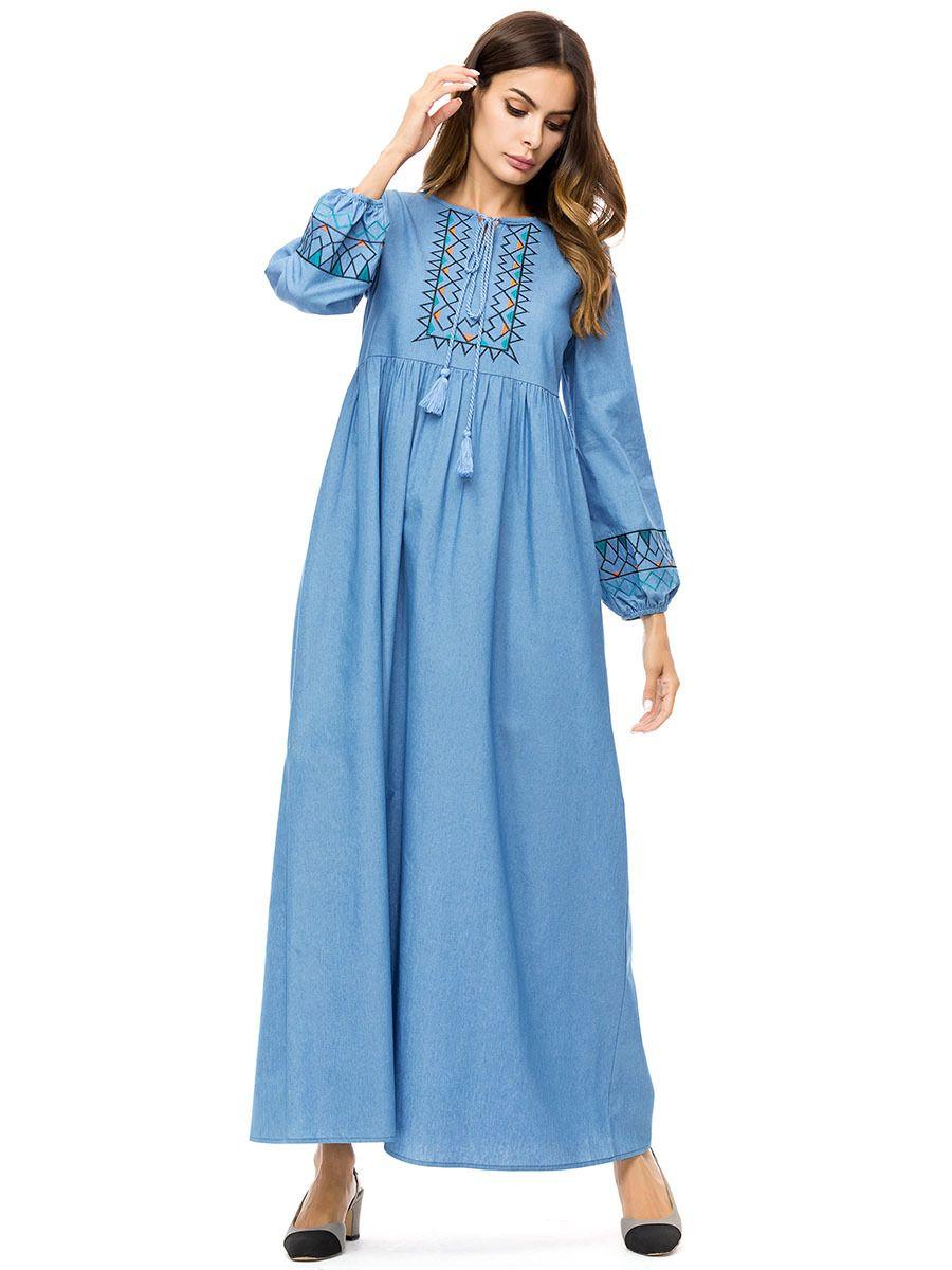 796d0d9b8608 Woman Long Sleeve embroidery Maxi Dress Plus Size 4XL Elegant Denim Dresses  Women Spring Autumn Long ...