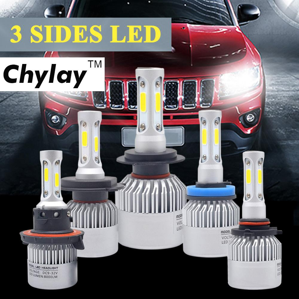 H4 Car LED Headlight 72W 6500K 3 Sides COB Chips Auto H11 H13 9005 9006 9007 H7 LED kit Headlamp fog light Automobiles Parts