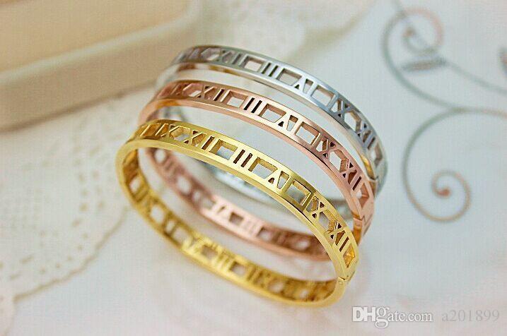 Mode römische Ziffer Armband Skeleton Armband Titan Stahl überzog 18K Rose Gold-Schmuck