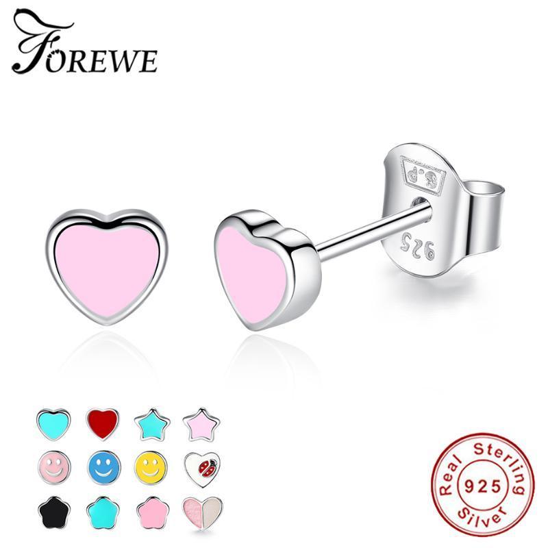 925 Sterling Silver Love Heart Stud Earrings Rose Gold Clear CZ Stud Earring Women Fashion Jewelry