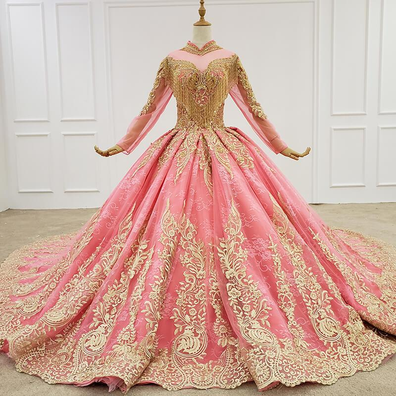 2020 Pink Evening Dress Long Tulle Sleeves High Neck Ball Gown Appliques Tassel Floor Length Lace Up Back Cocktail Party Dresses Vestidos