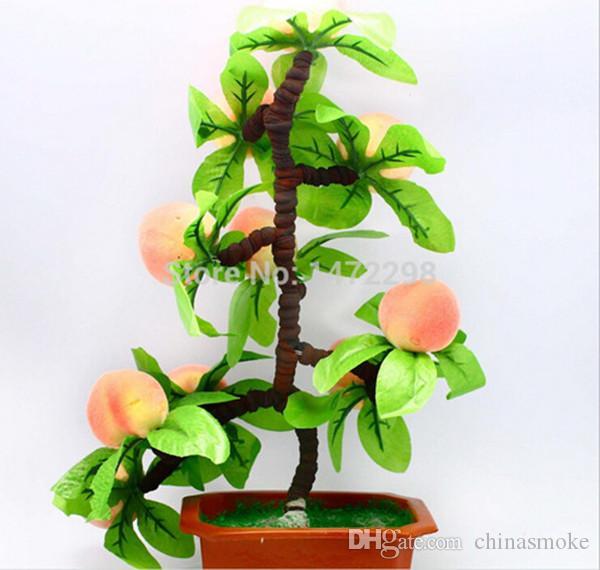 Ornamento de la flor artificial artificial del árbol de melocotón caliente casa de los bonsais de herramientas de bocetos decoración decorativo 10 Frutas Flores