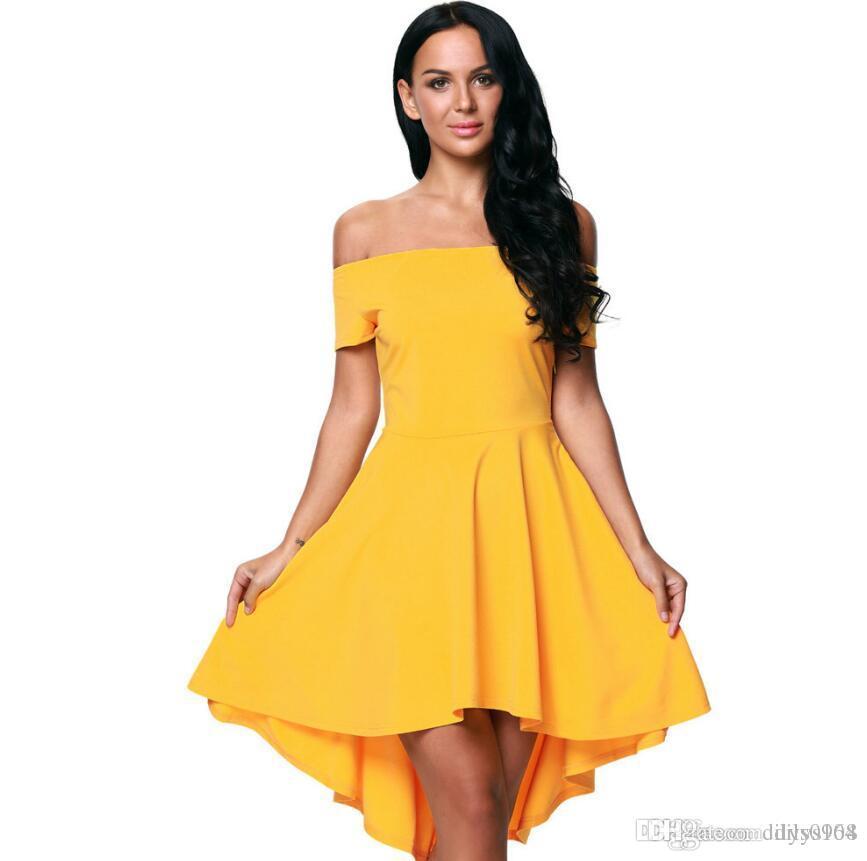 sexy de la mode collier Un mot court à manches courtes court et à long robe complète de vêtements pour femmes Robe Longuette nouvelles Robes Casual 61346