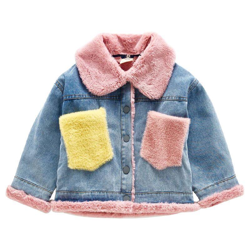 Kids Boys Girls Denim Fleece Lined Coat Fur Hooded Wool Warm Parka Jacket Coats
