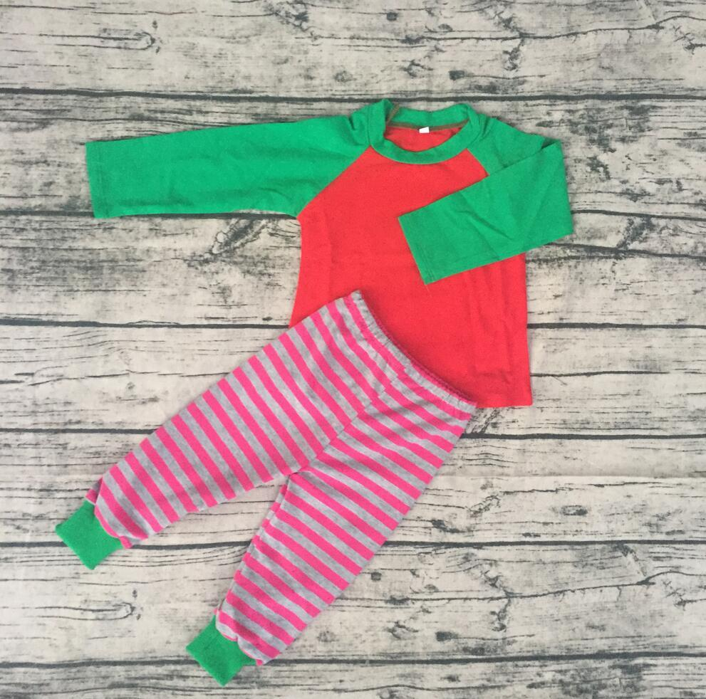 wholesale popular raglan style pajamas children kids boutique christmas pajamas baby onesie rompers in cheap price