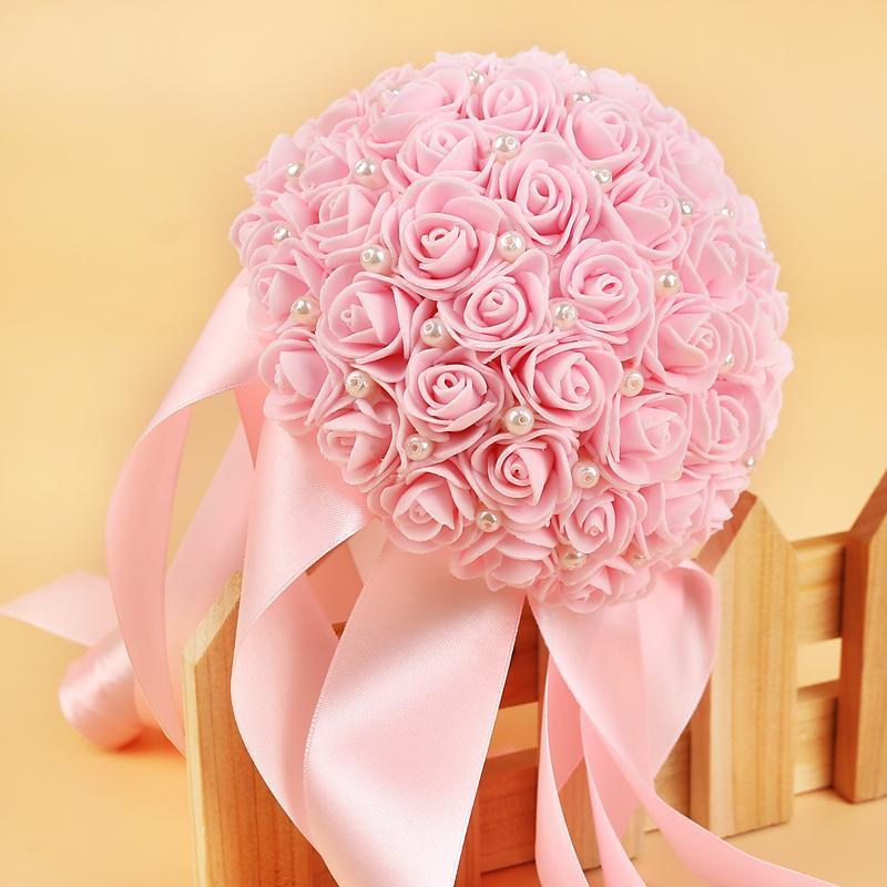 Ramos de Novia Romantic White Wedding Flowers Bouquet with Ribbon Flower Rose Handmade Artificial Bridal Accessories
