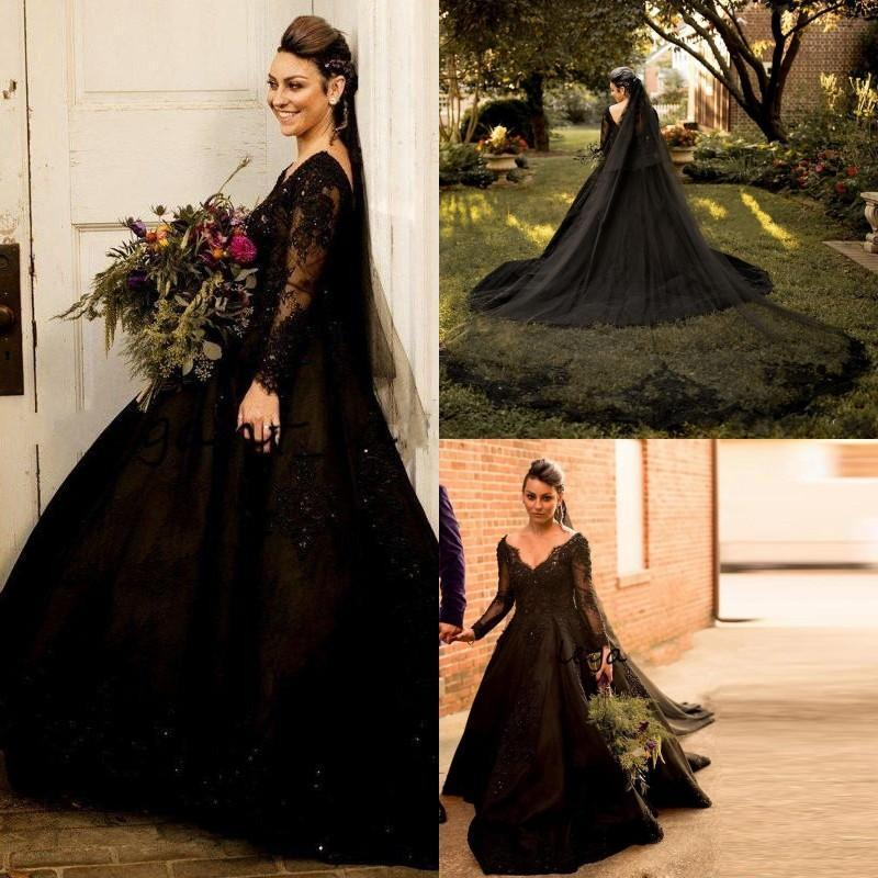 Black Gothic Wedding Dresses V-neck Lace Applique Beaded Long Sleeve Country Style Wedding Dress Bridal Gowns vestidos de noiva Plus Size
